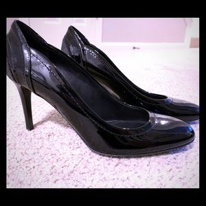 Burberry Patent Leather Round-Toe Pumps